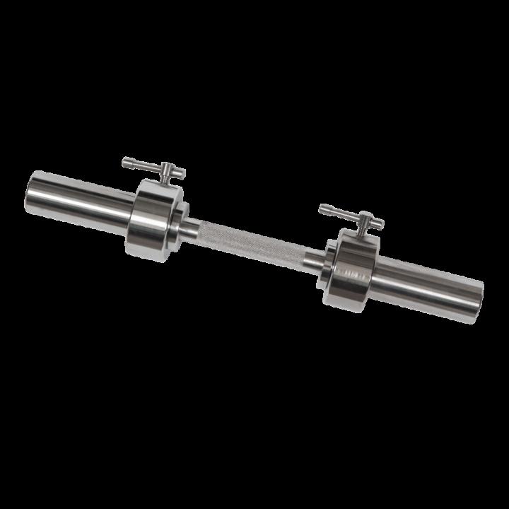 Гриф для гантели хромированный, длина 530 мм МВ Barbell, невращающаяся ручка, замок с ломающимся стопором, гладкая втулка 50 мм