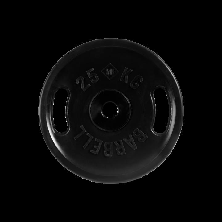 """Диск обрезиненный """"Евро-классик"""" с ручками МВ Barbell 25 кг, чёрный, 51 мм"""