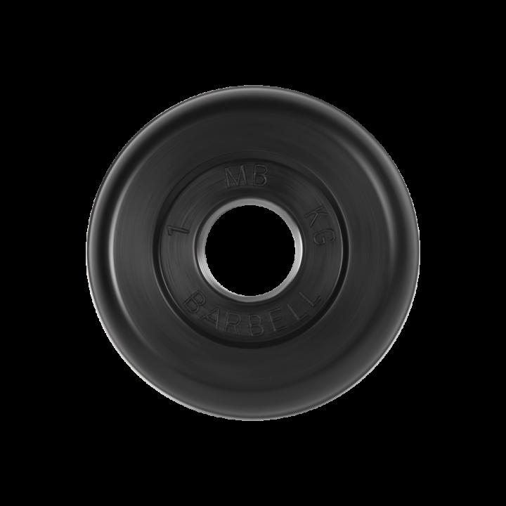 """Диск обрезиненный """"Стандарт"""" МВ Barbell 1 кг, чёрный, 26 мм"""