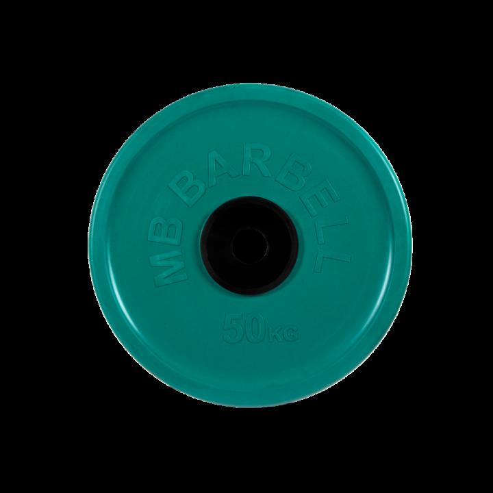 """Диск обрезиненный """"Евро-классик"""" МВ Barbell 50 кг, зелёный, 51 мм"""