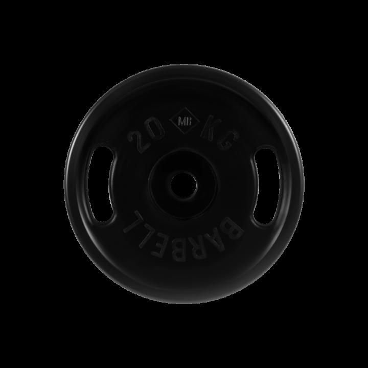 """Диск обрезиненный """"Евро-классик"""" с ручками МВ Barbell 20 кг, чёрный, 51 мм"""
