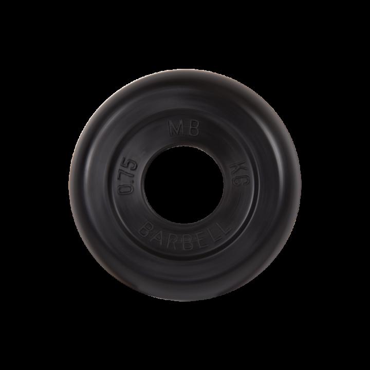 """Диск обрезиненный """"Стандарт"""" МВ Barbell 0.75 кг, чёрный, 31 мм"""