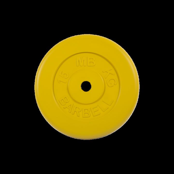 """Диск обрезиненный """"Стандарт"""" МВ Barbell 15 кг, жёлтый, 31 мм"""