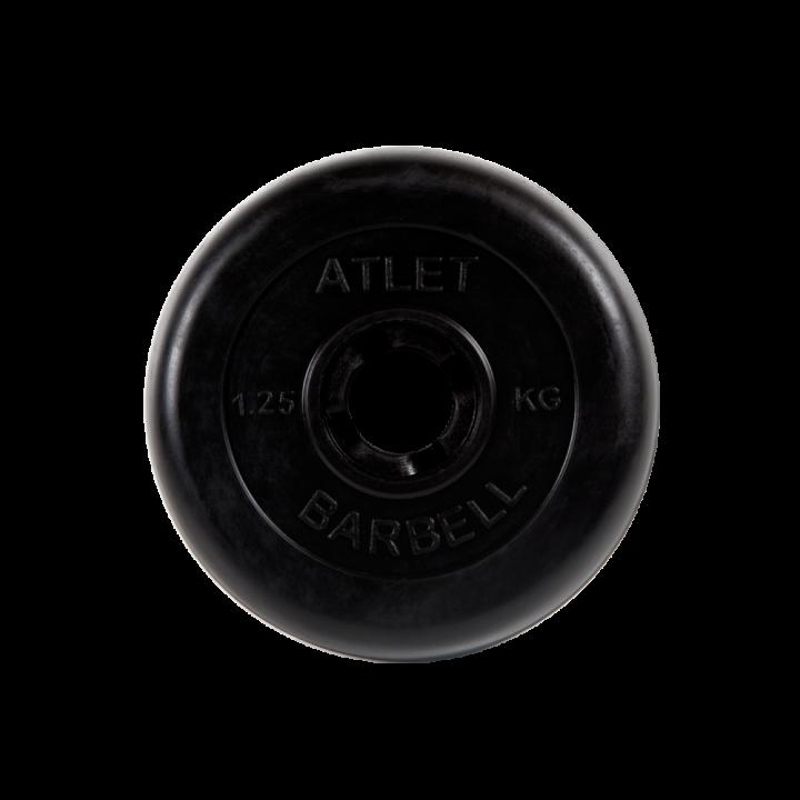 """Диск обрезиненный """"Атлет"""" МВ Barbell 1,25 кг, чёрный, 31 мм"""