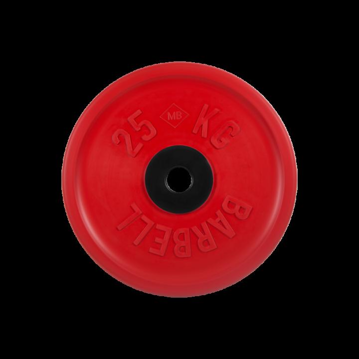 """Диск обрезиненный """"Евро-классик"""" МВ Barbell 25 кг, красный, 51 мм"""