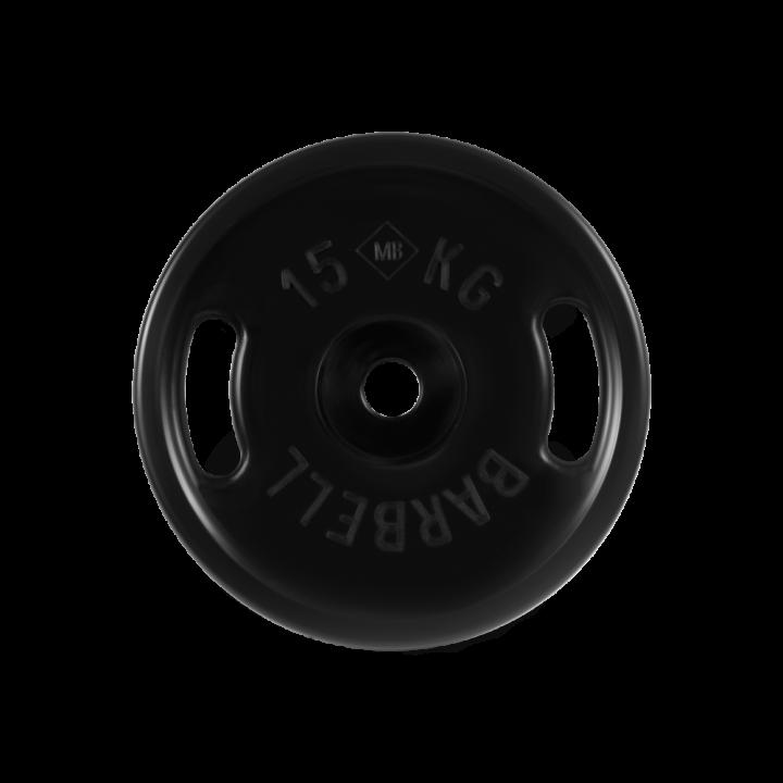 """Диск обрезиненный """"Евро-классик"""" с ручками МВ Barbell 15 кг, чёрный, 51 мм"""