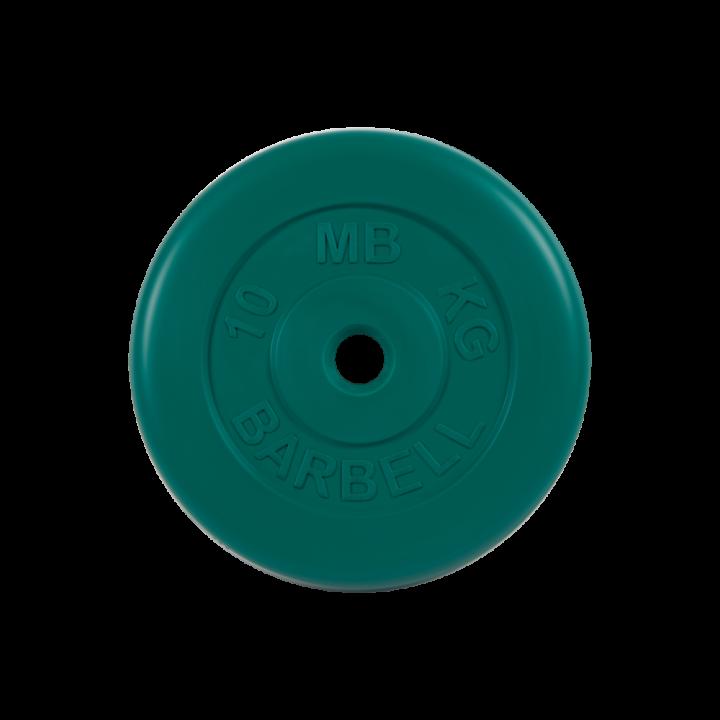 """Диск обрезиненный """"Стандарт"""" МВ Barbell 10 кг, зелёный, 26 мм"""