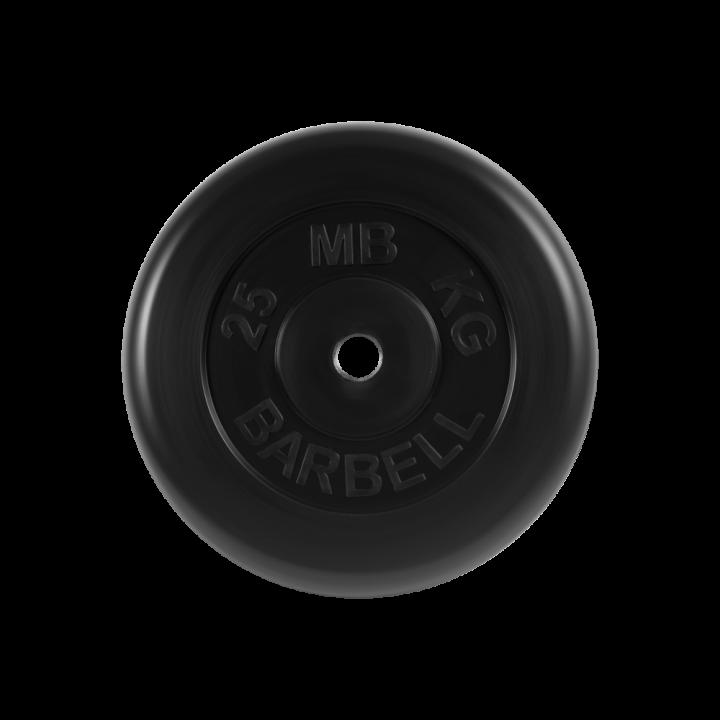 """Диск обрезиненный """"Стандарт"""" МВ Barbell 25 кг, чёрный, 26 мм"""