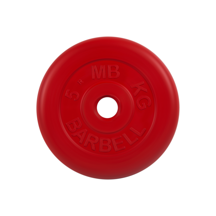 """Диск обрезиненный """"Стандарт"""" МВ Barbell 5 кг, красный, 26 мм"""