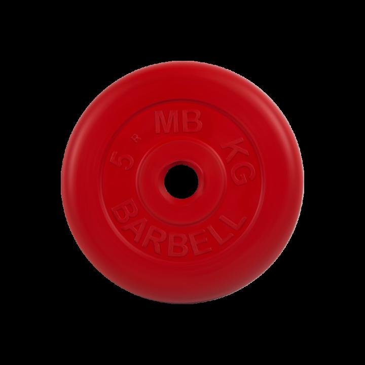 """Диск обрезиненный """"Стандарт"""" МВ Barbell 5 кг, красный, 31 мм"""