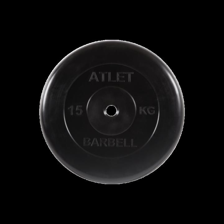 """Диск обрезиненный """"Атлет"""" МВ Barbell 15 кг, чёрный, 26 мм"""