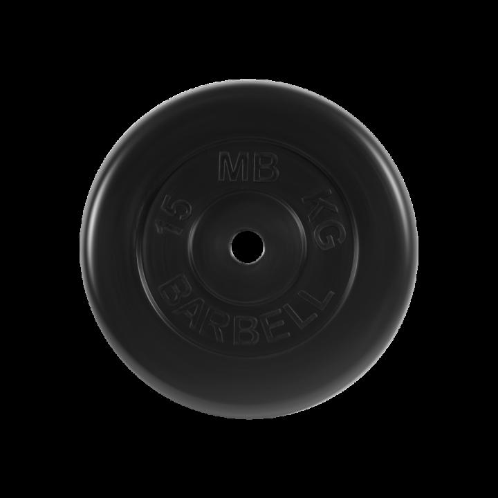 """Диск обрезиненный """"Стандарт"""" МВ Barbell 15 кг, чёрный, 26 мм"""